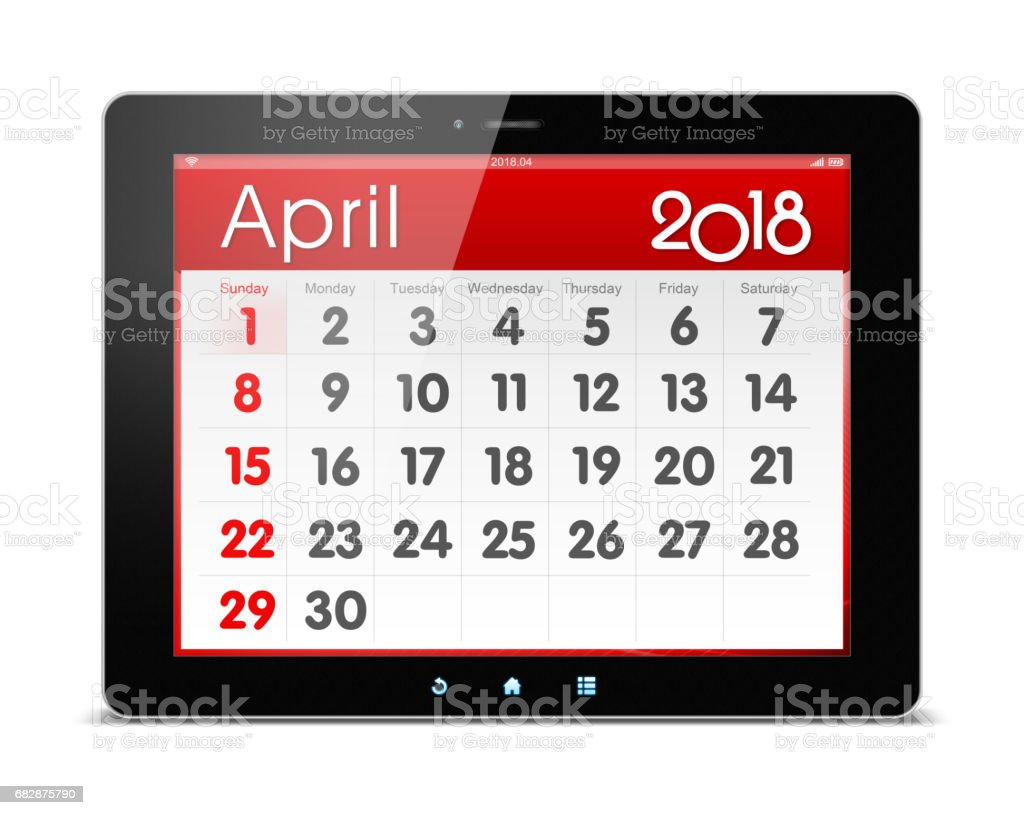 April 2018 year Calender on digital tablet isolated (Clipping path) stock photo