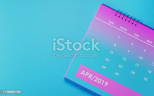 1124594277 istock photo April 2019 Calendar On Blue Background 1129582705