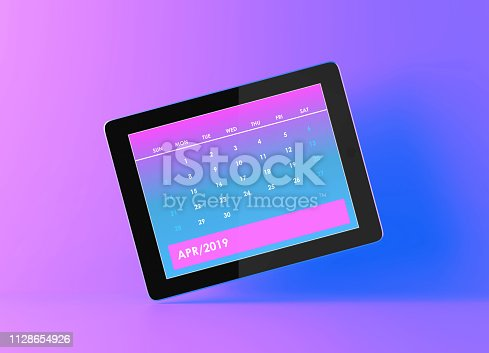 1124594277istockphoto April 2019 Calendar On Pink And Blue Background 1128654926