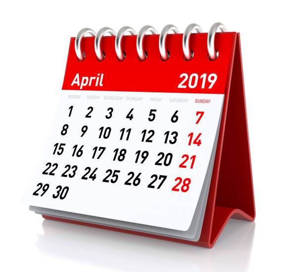 April 2019 Calendar. stock photo