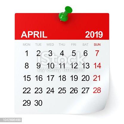 April 2019 - Calendar. Isolated on White Background. 3D Illustration