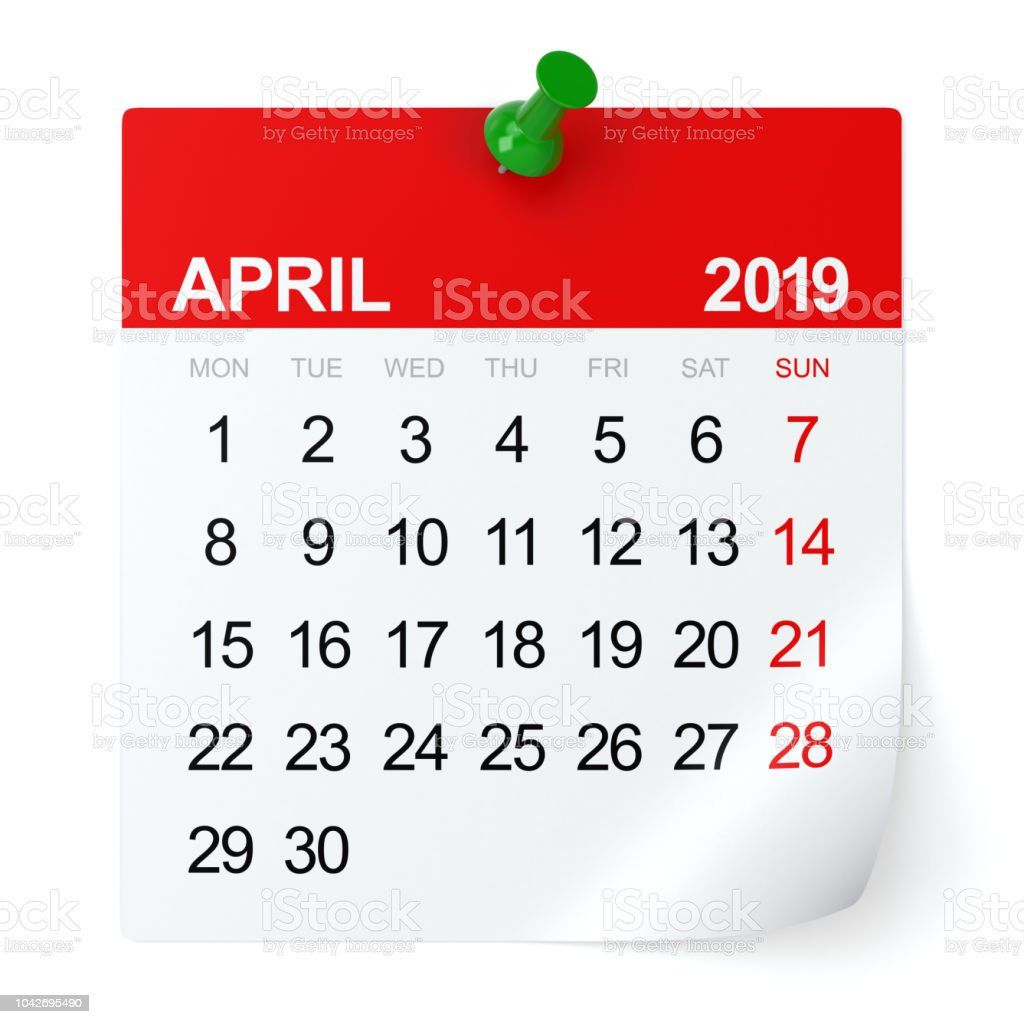 April 2019 - Calendar. stock photo