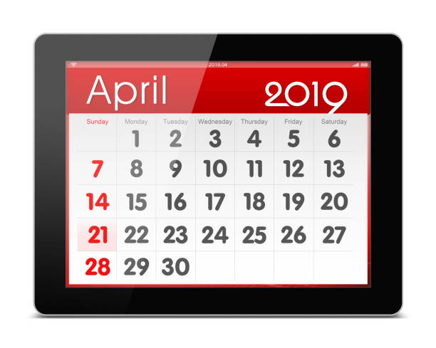 April 2019 year Calender on digital tablet isolated (Clipping path) stock photo