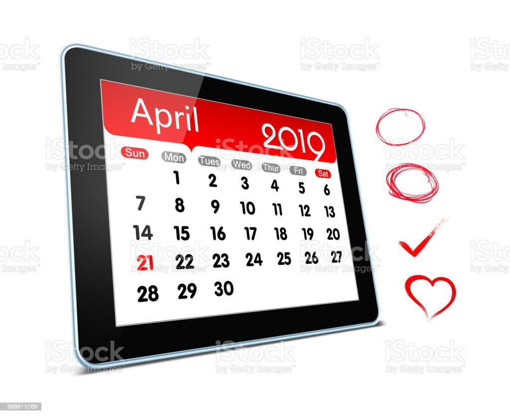 April 2019 year Calender on digital tablet isolated stock photo
