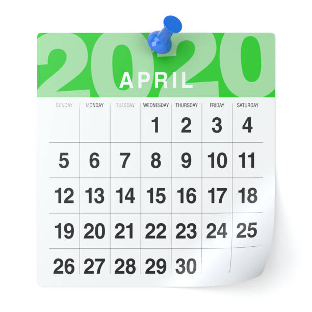 April 2020  -Calendar. Isolated on White Background. 3D Illustration April 2020  -Calendar. Isolated on White Background. 3D Illustration April stock pictures, royalty-free photos & images