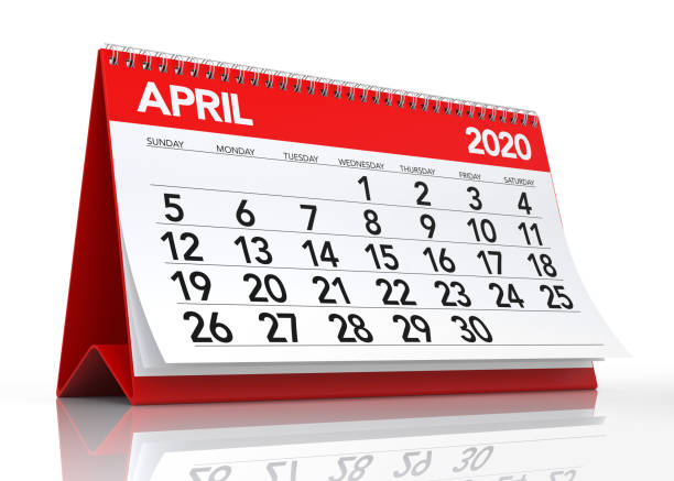 April 2020 Calendar April 2020 Calendar. Isolated on White Background. 3D Illustration April stock pictures, royalty-free photos & images