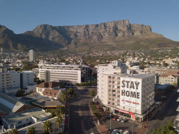 2 April 2020 - Cape Town, South Africa: Aerial view of empty streets in Cape Town, South Africa during the Covid 19 lockdown. stock photo