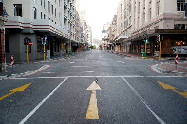 2 April 2020 - Cape Town,South Africa : Empty landmark Long Street, in the city of Cape Town during the lockdown for Covid-19 stock photo