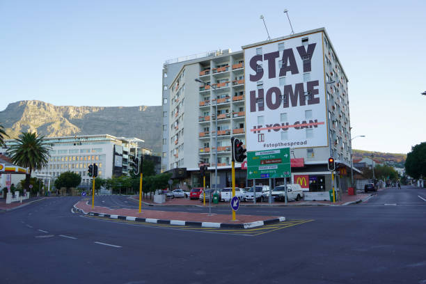 2 April 2020 - Cape Town,South Africa : Empty streets in the city of Cape Town during the lockdown for Covid-19 stock photo