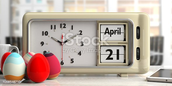 istock April 21 2019 Easter date on old retro alarm clock, easter eggs, office background, 3d illustration. 1058546710