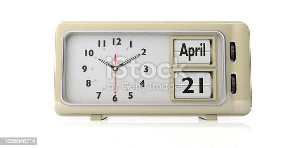 istock April 21 2019 Easter date on old vintage alarm clock isolated on white background. 3d illustration.. 1058546714