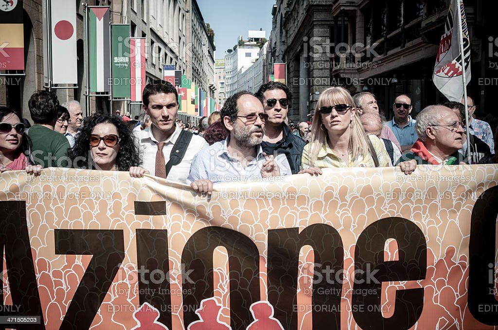 April 25 2013 celebration of liberation in Milan stock photo