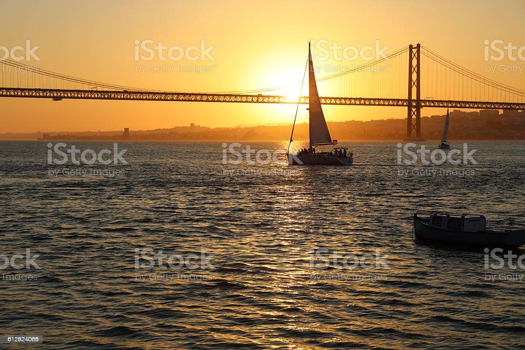 April 25th Bridge at Twilight in Lisbon. Portugal stock photo