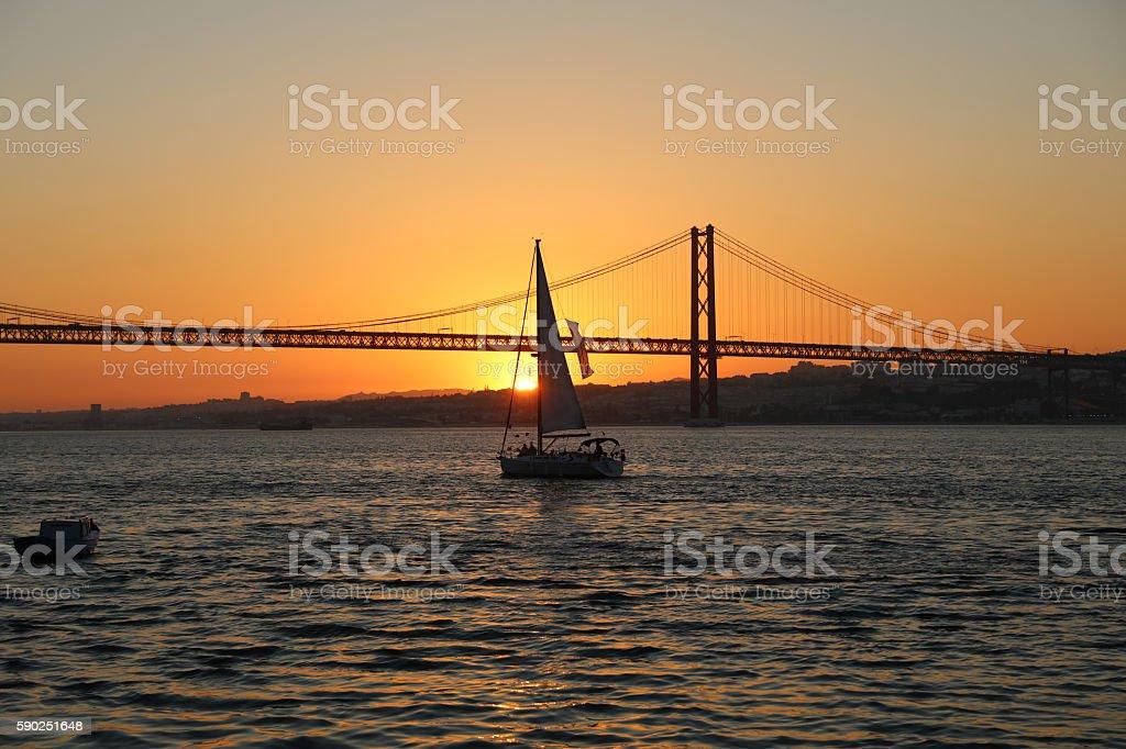April 25th Bridge in Lisbon at Twilight stock photo