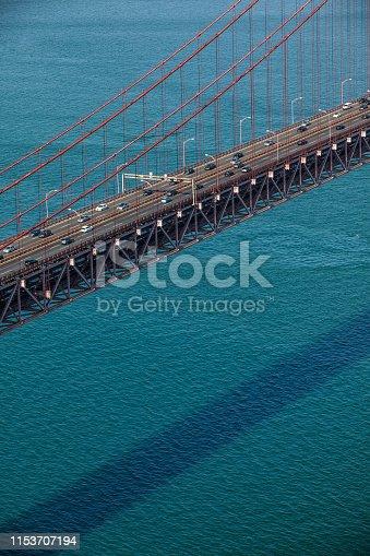 detail shot of the april 25th bridge in lisbon, portugal.