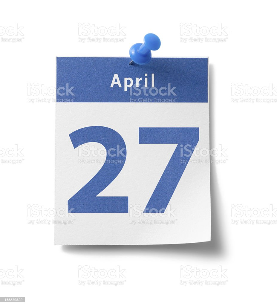 April 27th Calendar royalty-free stock photo