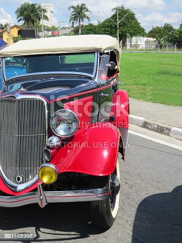 April 8, 2018, Jacareí, Sao Paulo Brazil, Exhibition of Antique Cars, close-up of the front of the restored car of old Ford. On sunny day.