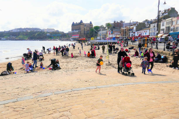 April beach, Scarborough, Yorkshire. stock photo