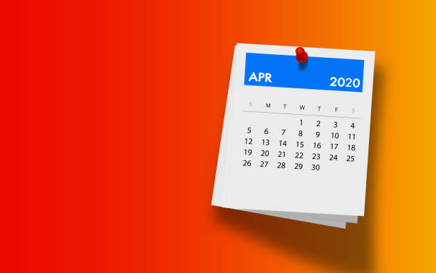 2020 April Calendar on Note Pad Against Colorful Background 2020 April calendar on a white note paper pinned on wall against colorful background. High resolution and copy space for all your crop needs. 3D Rendering. April stock pictures, royalty-free photos & images