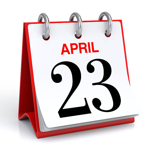april calendar - number 23 stock photos and pictures