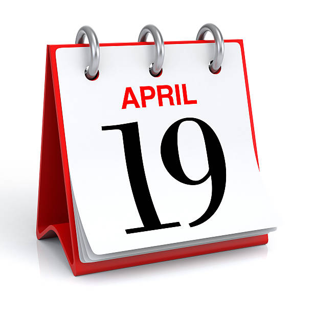 april calendar - number 19 stock photos and pictures