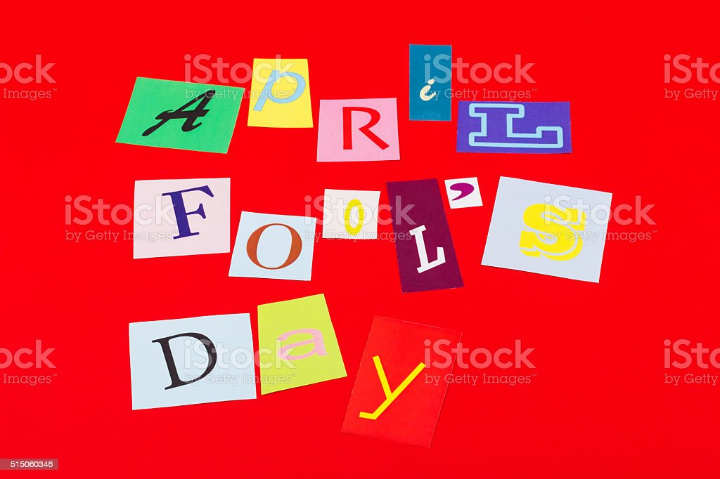 April fool's day, paper letters stock photo