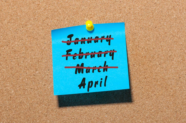 april fool's day. second spring month calendar concept. crossed out march, february and january - welcome march stock photos and pictures