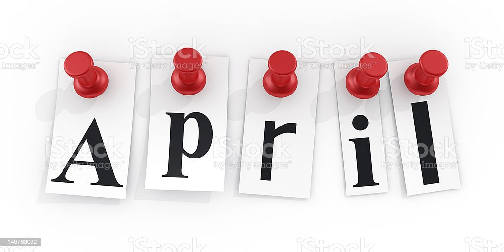 April pinned to a white wall royalty-free stock photo