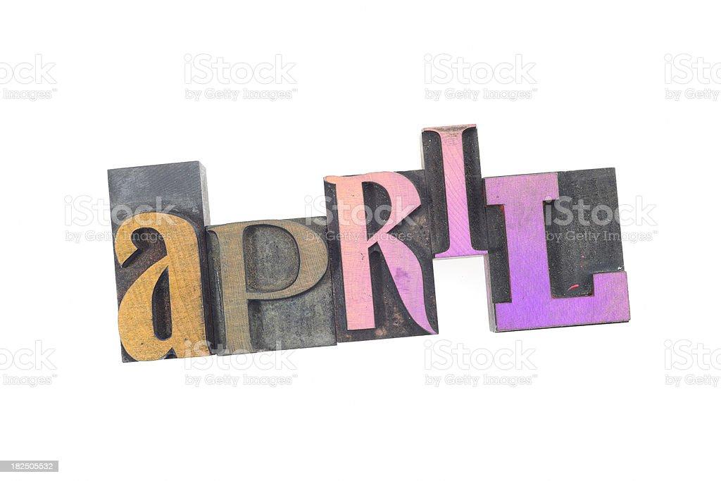 April - Vintage Wood Letterpress. Months Series stock photo