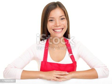 istock apron woman sales assistant clerk 176890901
