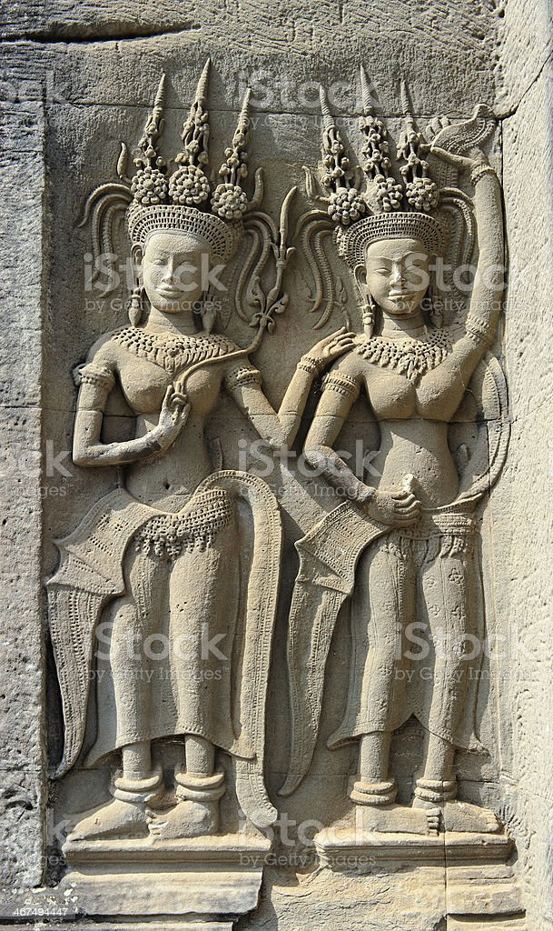 Apsara Bas-relief at Angkor Wat Temple Cambodia royalty-free stock photo