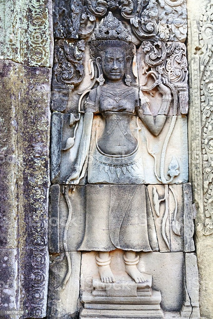 Apsara carving, Angkor wat, Cambodia royalty-free stock photo