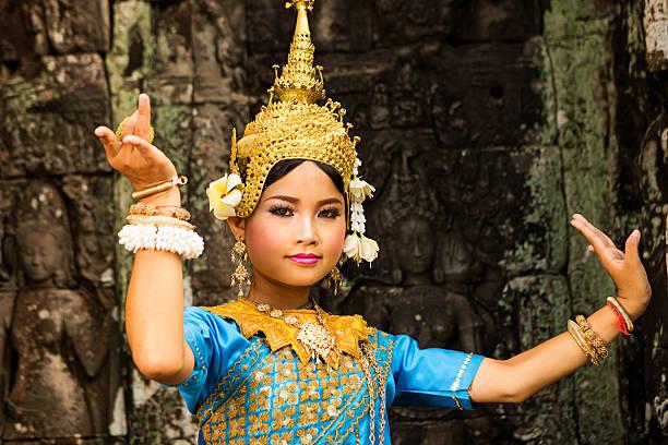 Apsara Dancer at Angkor Wat Aspara Dancer, Angkor Wat, Cambodia. indochina stock pictures, royalty-free photos & images