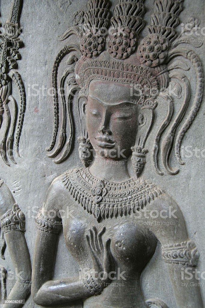 Apsara khmer stone carving angkor wat cambodia stock photo