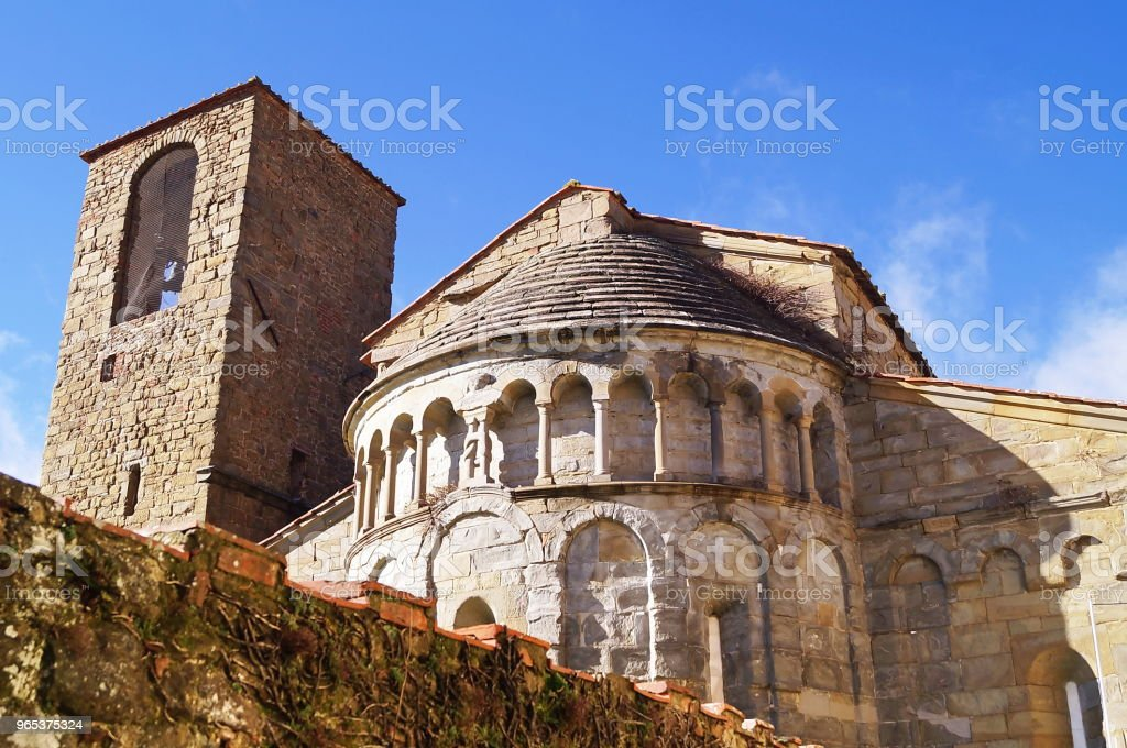 Apse and bell tower of the church of Gropina, Tuscany royalty-free stock photo