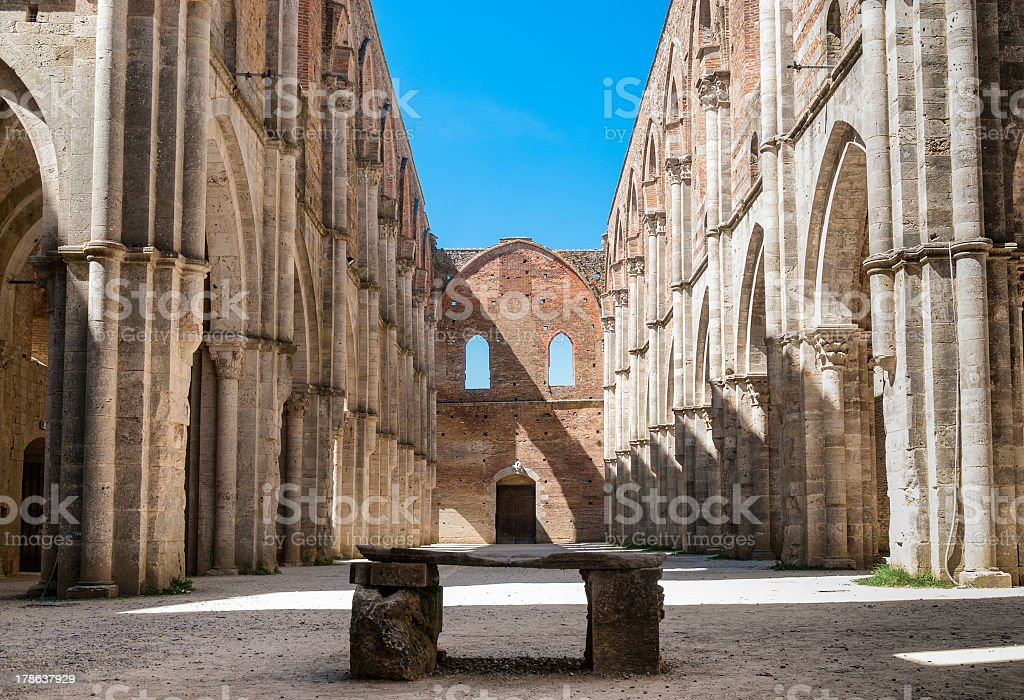 Apse in the Abbey of San Galgano, Tuscany. stock photo