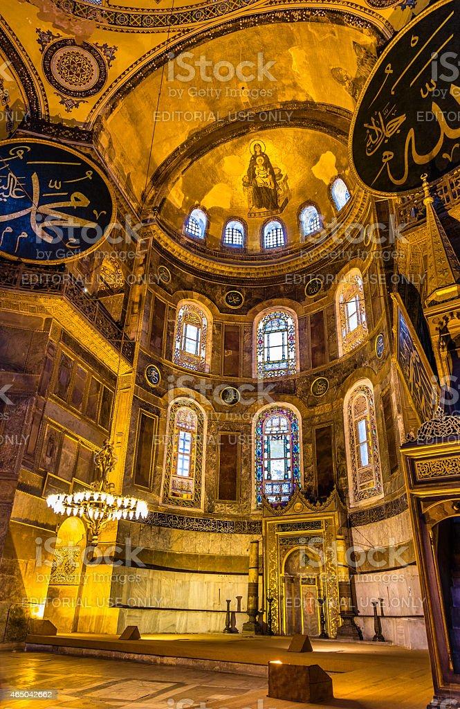 Apse mosaic of the Theotokos in Hagia Sophia stock photo