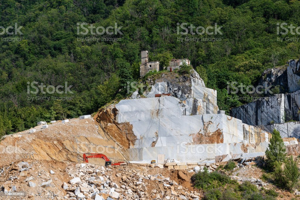 Apuan Alps Italy Quarry Of White Carrara Marble Stock Photo