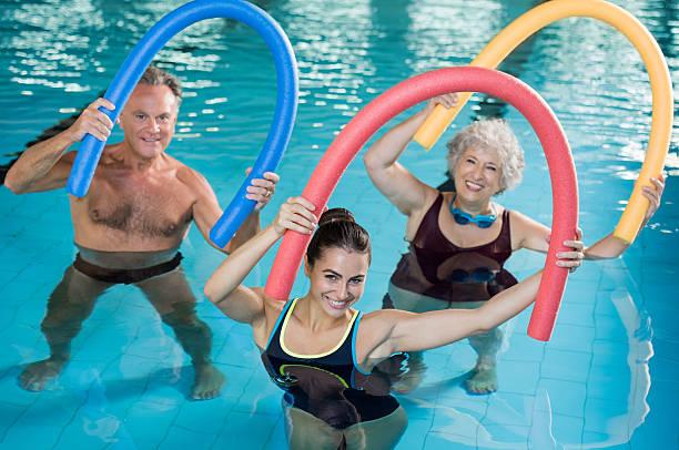 Aqua aerobics with seniors - foto stock