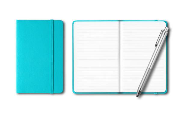 aqua blue closed and open notebooks with a pen isolated on white - organizzatore elettronico foto e immagini stock