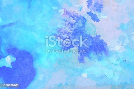 istock Aqua Blue Watercolor Splotchy Wet abstract painting on Textured Paper 1149289960