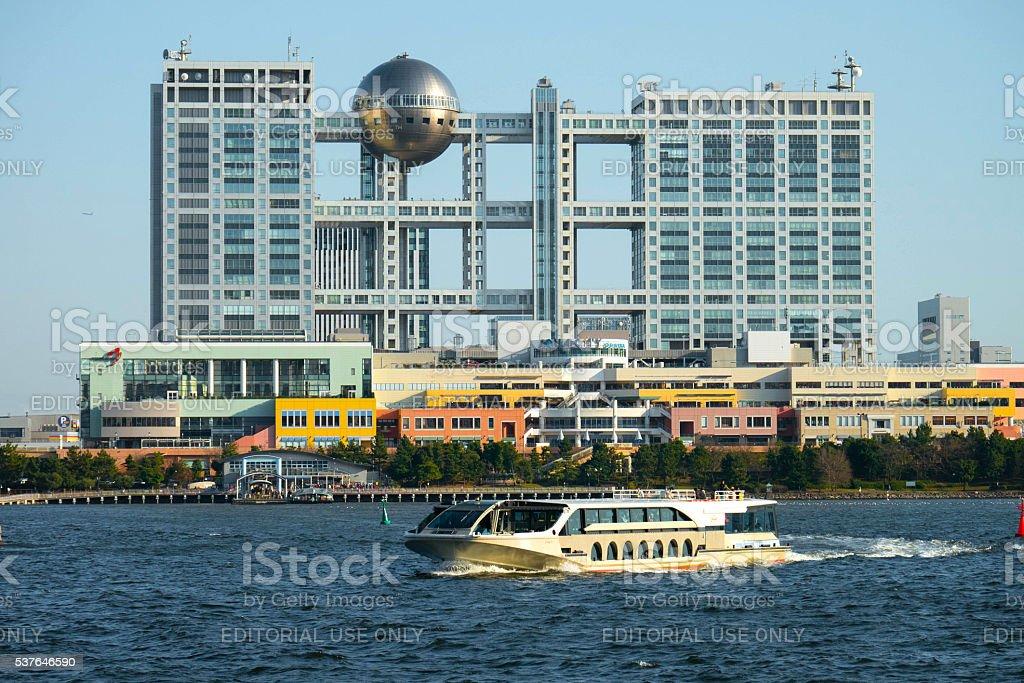 Aqua city and Fuji Television building, Odaiba, Tokyo stock photo