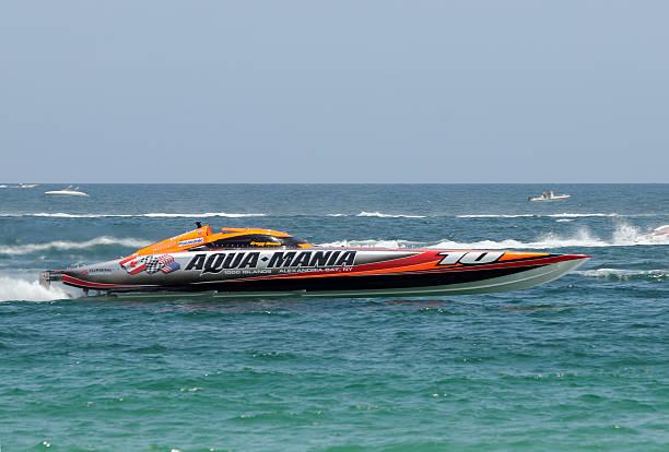 Aqua Mania speed boat racing stock photo