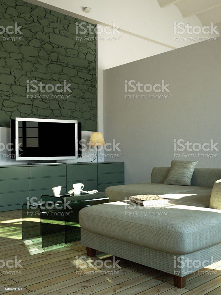 Aqua Int Rieur Moderne Avec T L Viseur Cran Plasma Stock Photo  # Maison En Ecran Plasma