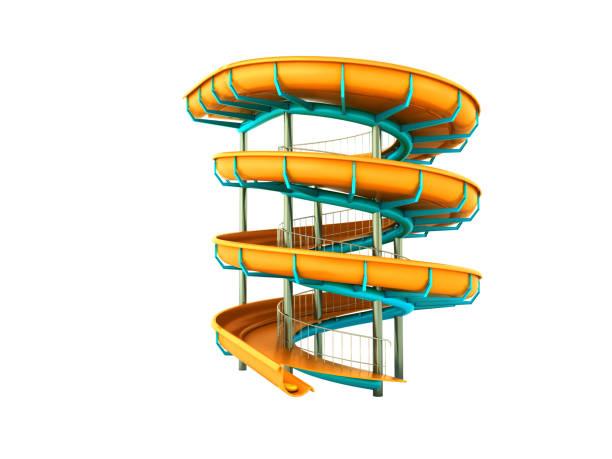 parque aquático água amarela carrossel 3d render no fundo branco - organismo aquático - fotografias e filmes do acervo