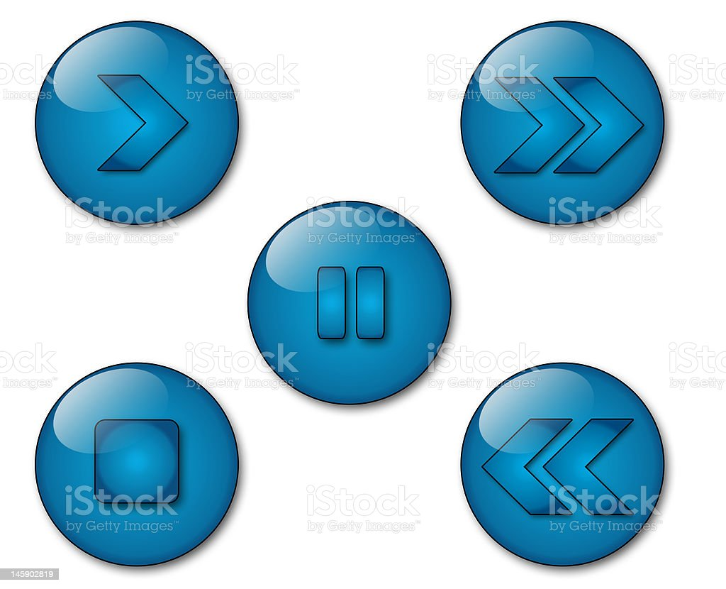 aqua player icons royalty-free stock photo