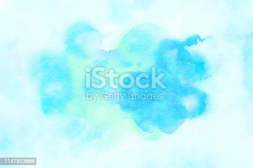 istock Aqua Watercolor Splotchy Wet Rings on Textured Paper 1147813866