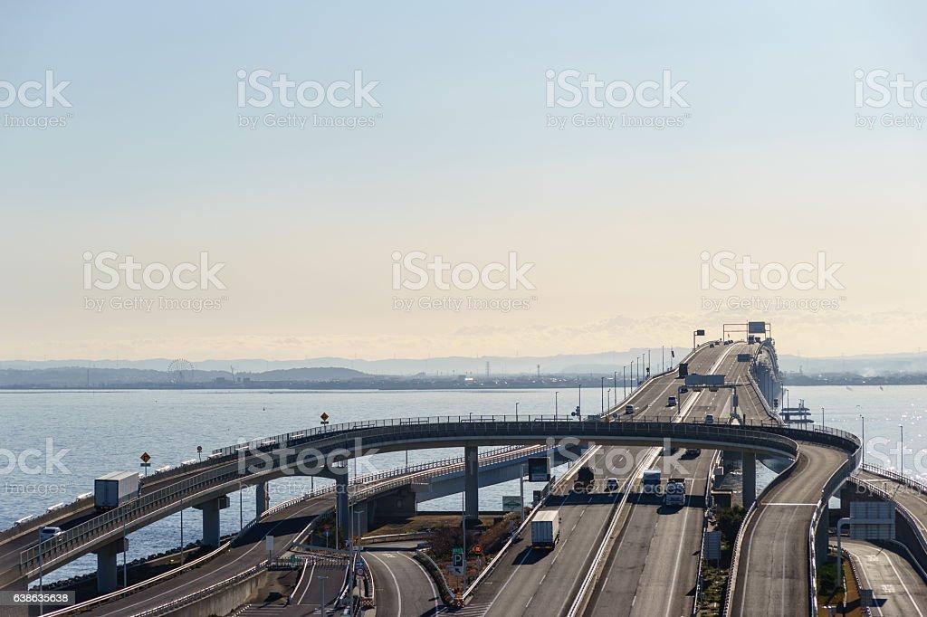 Aqua-Bridge on Tokyo Bay stock photo