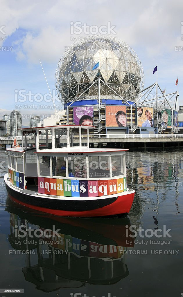 Aquabus at Science World stock photo
