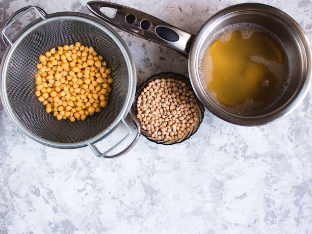 Aquafaba made of chickpea. Replace egg in baking for vegan recipe. Healthy diet concept. stock photo